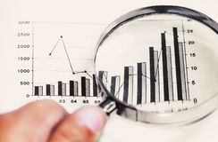 Magnifying glass analyzing graph. Hand holding magnifying glass analyzing graph Royalty Free Stock Images