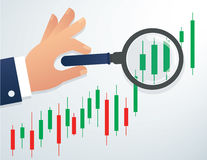 Hand holding the magnifying glass and candlestick chart stock market background vector illustration. EPS 10 Stock Image