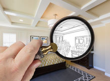 Hand Holding Magnifying Glass Revealing Custom Kitchen Design Dr Royalty Free Stock Photos