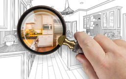 Hand Holding Magnifying Glass Revealing Custom Kitchen Design Dr Stock Photography