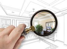 Hand Holding Magnifying Glass Revealing Custom Kitchen Design Dr Stock Image