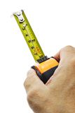 Hand holding measuring tape Stock Photo