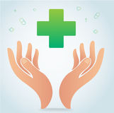 Hand holding medical icon symbol vector, healthcare concept. Illustration Stock Photo