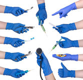 Hand holding medical objects stock images