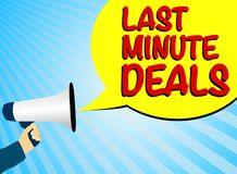 Hand holding megaphone or bullhorn against blue background with speech bubble and text LAST MINUTE DEALS. Vector illustration royalty free illustration