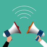 Hand holding megaphone businessman vector. Icon Royalty Free Stock Images