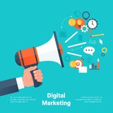 Hand Holding Megaphone with Cloud of Colorful Application Icons on Media Theme. Stock Image