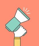 Hand holding a megaphone,digital marketing concept Royalty Free Stock Images