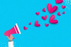 Hand holding megaphone with Flying Origami Love Pink Hearts. Valentine concept. Space for text. Be my valentine.14. February. Romantic card on sky blue. Vector Royalty Free Stock Image