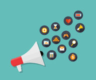 Hand holding Megaphone with Icon Set. Vector Stock Image