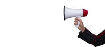 Hand holding megaphone isolated royalty free stock image