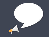 Hand holding Megaphone with Speech Bubble. Vector Royalty Free Stock Image