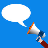 Hand holding megaphone speech bubbles vector Stock Photography