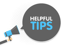 Hand holding Megaphone. Speech sign text helpful tips. Vector illustration Royalty Free Stock Images