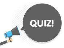 Hand holding Megaphone. Speech sign text Quiz. Vector illustration Stock Photography