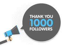 Hand holding Megaphone. Speech sign text Thank you 1000 followers. Vector illustration.  Stock Image