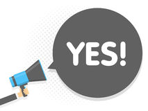 Hand holding Megaphone. Speech sign text Yes. Vector illustration.  Stock Photo