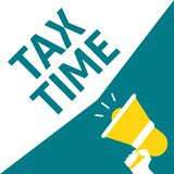 Hand Holding Megaphone With TAX TIME Announcement stock illustration
