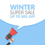 Hand Holding Megaphone With Winter Sale Announcement Royalty Free Stock Images
