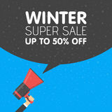 Hand Holding Megaphone With Winter Sale Announcement Stock Image
