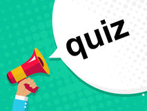Free Hand Holding Megaphone With QUIZ Announcement. Flat Style Illustration Royalty Free Stock Images - 79571369