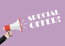 Hand holding megaphone with word special offer Stock Images