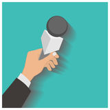 Hand holding a microphone, press conference, vector illustration Stock Photos