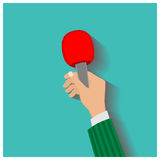 Hand holding a microphone, press conference, vector illustration Royalty Free Stock Photography