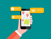 Hand holding mobile with map location navigation.mobile GPS. Hand holding mobile with map location navigation.mobile check inconcept Stock Photos