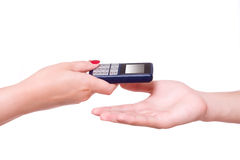 Hand holding mobile phone. On white background royalty free stock photos