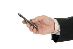 Hand holding a mobile phone Royalty Free Stock Images