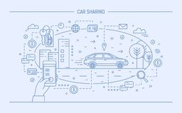 Hand holding mobile phone and automobile on city street. Concept of car sharing and electronic rental service or. Carsharing application. Monochrome vector stock illustration