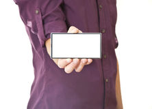 Hand Holding Mobile Phone with Blank Screen Royalty Free Stock Image