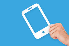 Hand Holding Mobile Phone Cardboard Royalty Free Stock Images