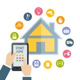 Hand holding mobile phone controls smart home Stock Photos