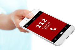 Hand holding mobile phone with emergency number 112 isolated ove. R white background royalty free illustration