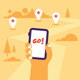 Hand holding mobile phone flat illustration. With the gps tags and road to go. Flat design, hot theme Stock Photography