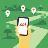 Hand holding mobile phone flat illustration. With the gps tags and road to go. Flat design, hot theme Royalty Free Stock Image