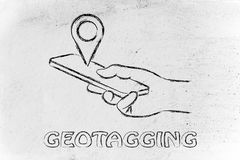 Hand holding mobile phone, geotagging and location sharing Stock Images