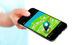 Hand holding mobile phone with gps application and map over whit Stock Images
