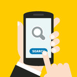Hand holding a mobile phone with an icon and button. Finger touches screen. It can be used for a website, mobile application, pres. It can be used for a website royalty free illustration