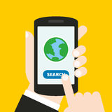 Hand holding a mobile phone with an icon and button. Finger touches screen. It can be used for a website, mobile application, pres. It can be used for a website vector illustration