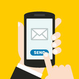 Hand holding a mobile phone with an icon and button. Finger touches screen. It can be used for a website, mobile application, pres. It can be used for a website stock illustration