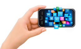 Hand holding mobile phone with icons Stock Image