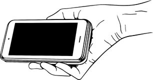 Hand holding mobile phone Royalty Free Stock Photos