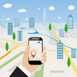 Hand holding mobile phone with navigation application stock illustration