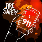 Hand holding mobile phone with number 911. Hand holding mobile phone with emergency number 911 on fire background. Great for any safety design progects. Vector Royalty Free Stock Image