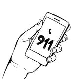 Hand holding mobile phone with number 911. Hand holding mobile phone with emergency number 911 isolated on white. Great for any safety design progects. Vector Royalty Free Stock Photography