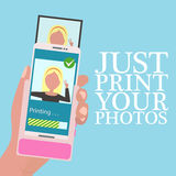 Hand holding mobile phone with portable printer for mobile phone in flat design style. Quick instant photo printing. Royalty Free Stock Photography