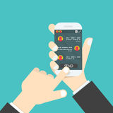 Hand holding mobile phone.Social network concept.Messenger windo. W.Chating,line and messaging concept.Vector illustration Royalty Free Stock Photos